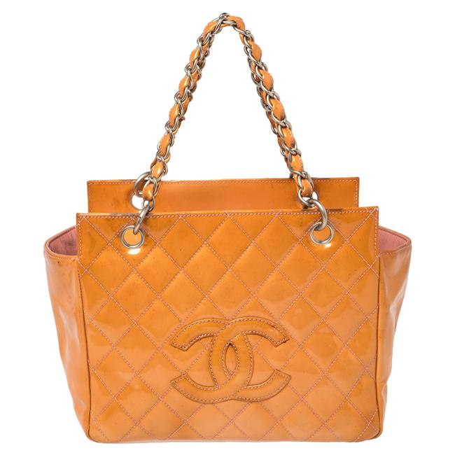Item - Orange Quilted Patent Leather Petite Timeless Shopper Tote