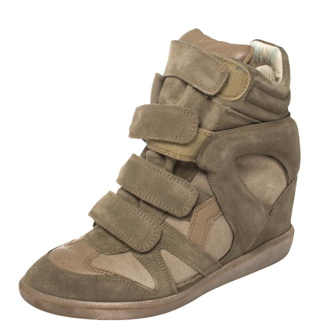 Item - Grey Suede and Leather Bekett Wedge Sneakers Size 38 Athletic
