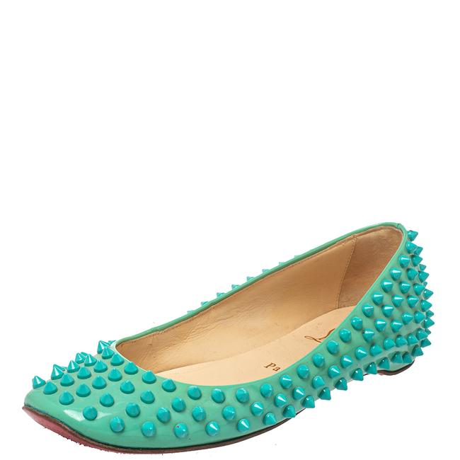 Item - Green Patent Leather Spikes Ballet Size 36.5 Flats
