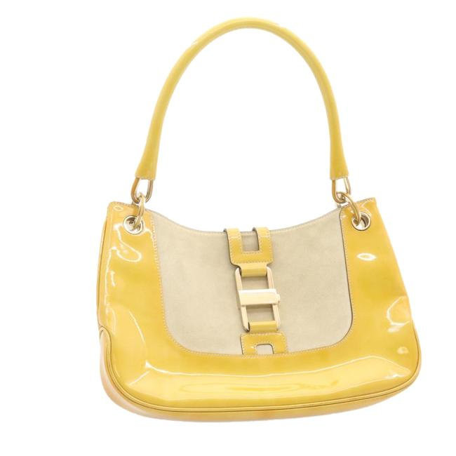 Item - Suede Patent Leather Yellow Shoulder Bag