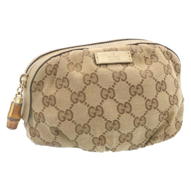 Item - Pouch Gg Canvas Beige Cosmetic Bag