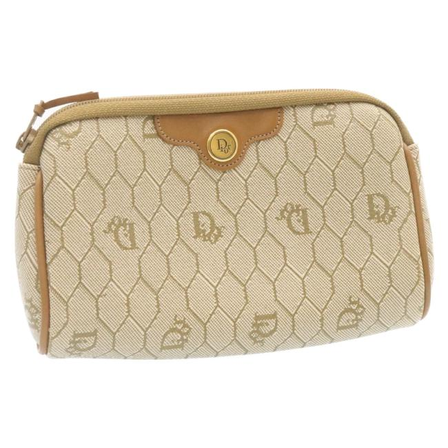 Item - Pvc Leather Honeycomb Canvas Beige Pouch Cosmetic Bag