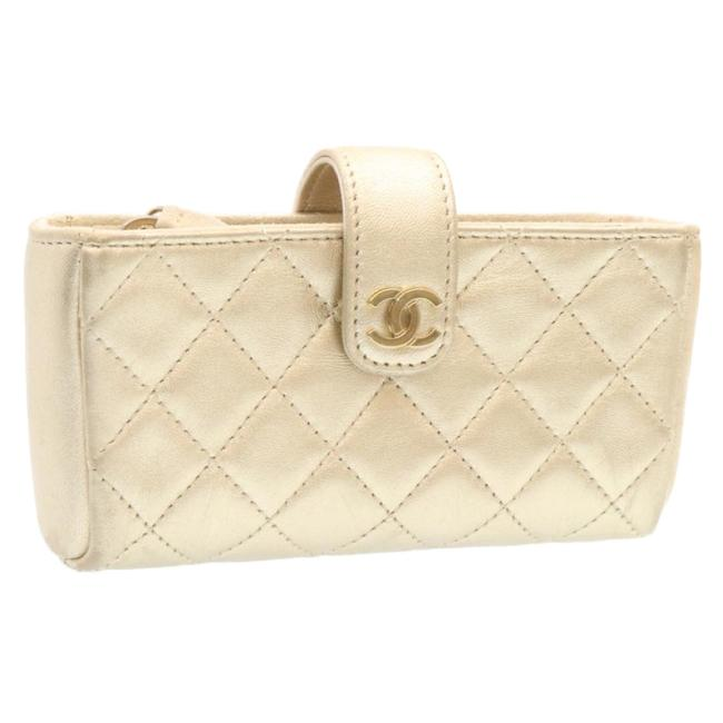 Item - Lamb Skin Champagne Gold Pouch Cosmetic Bag