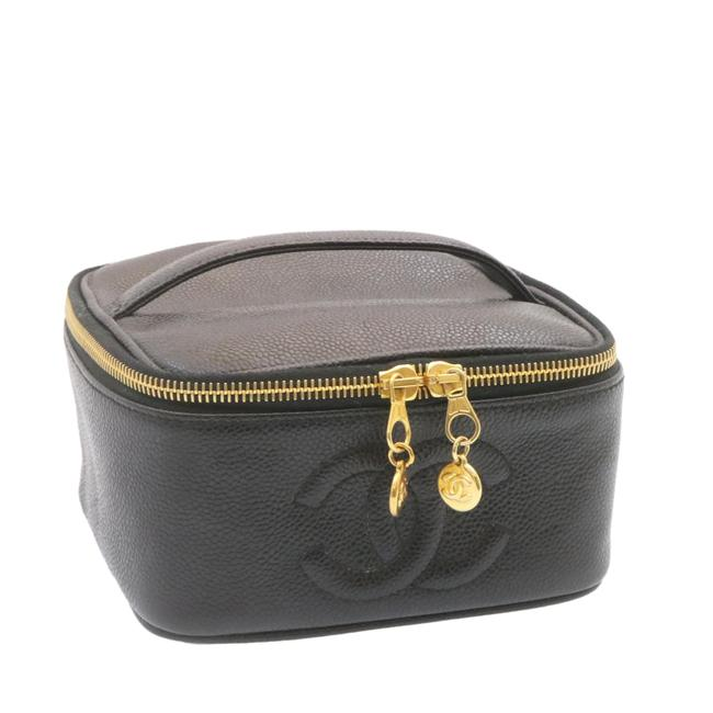 Item - Pouch Leather Caviar Skin Black Cosmetic Bag