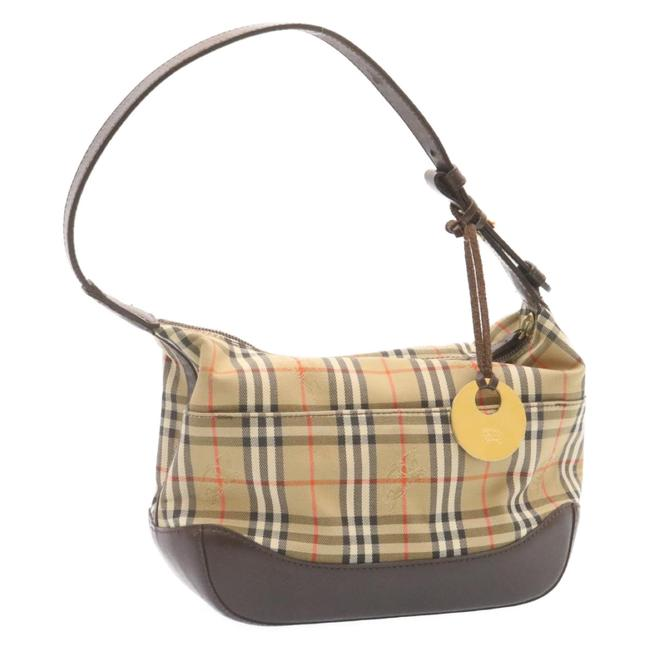 Item - Canvas Beige Brown Pouch Cosmetic Bag