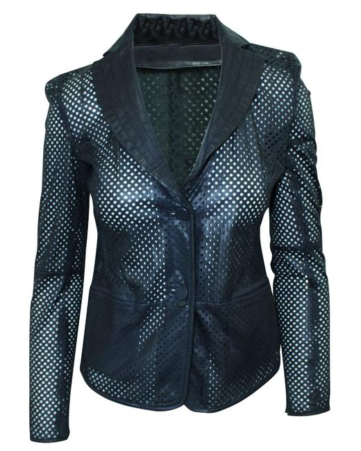 Item - Emporio Navy Blue Laser Cut Leather Jacket -pre Owned Coat