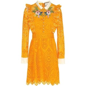 Gucci San Gallo Embroidered Broderie Anglaise It 44 Short Casual Dress