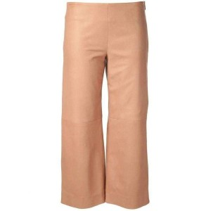 Chloé Beige Leather Cropped Fr 42 Pants