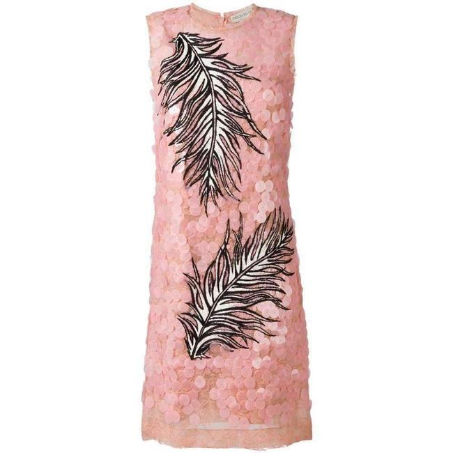 Item - Sequin Lace Feather Embroidered It 44 Short Casual Dress