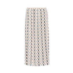 Gucci Pleated Silk with Web Kisses Print It 42 Skirt