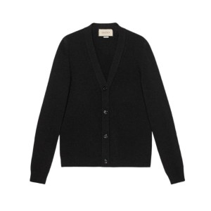 Gucci XL Knit Wool Cardigan with Rose Brooch Sweater/Pullover
