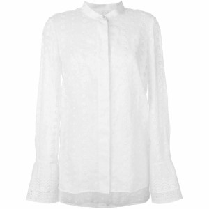 Chloé White Cotton Embroidered Long Sleeve Fr 40 Tee Shirt