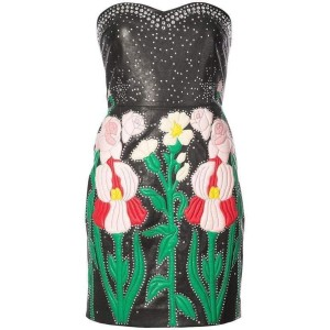 Gucci Leather Flower Intarsia Strapless Short Casual Dress