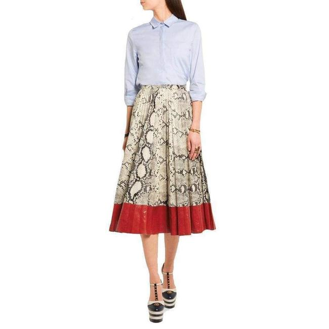 Item - Pleated Snake-effect Leather Skirt