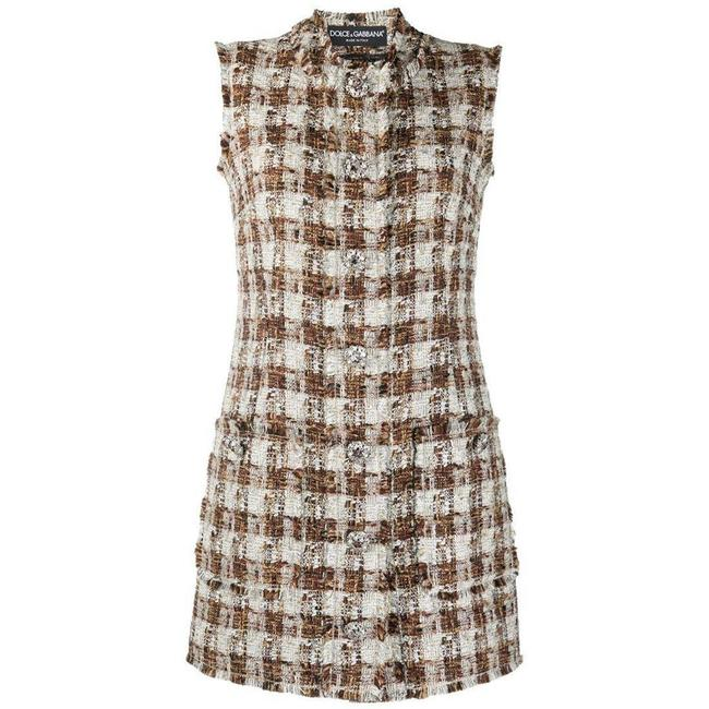 Item - Dolce & Gabbana Embellished Checked Tweed Shift It 44 Short Casual Dress