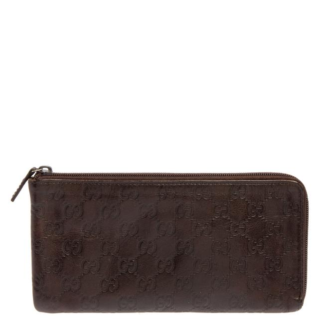 Item - Brown ssima Leather Zip Pouch Clutch