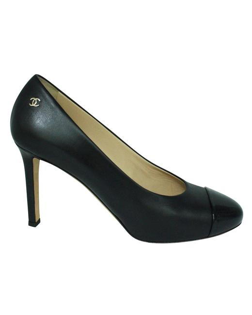 Item - Classic Black Heels with Patent Leather Toes and Cc On Sides Formal