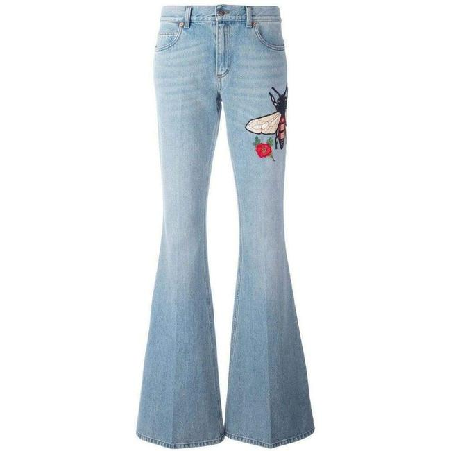 Item - Fly Embroidered Flared Cotton It 28 Straight Leg Jeans