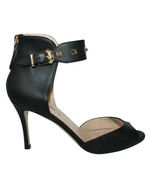 Item - Black Leather Heels with Golden Studs -pre Owned Condition Formal