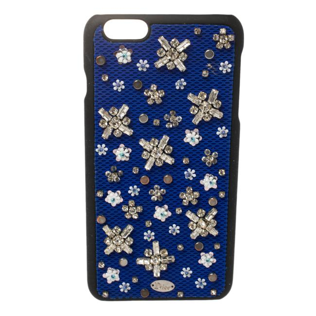 Item - Blue Fabric Stardust Crystal Embellished Iphone 6 Plus Case Tech Accessory