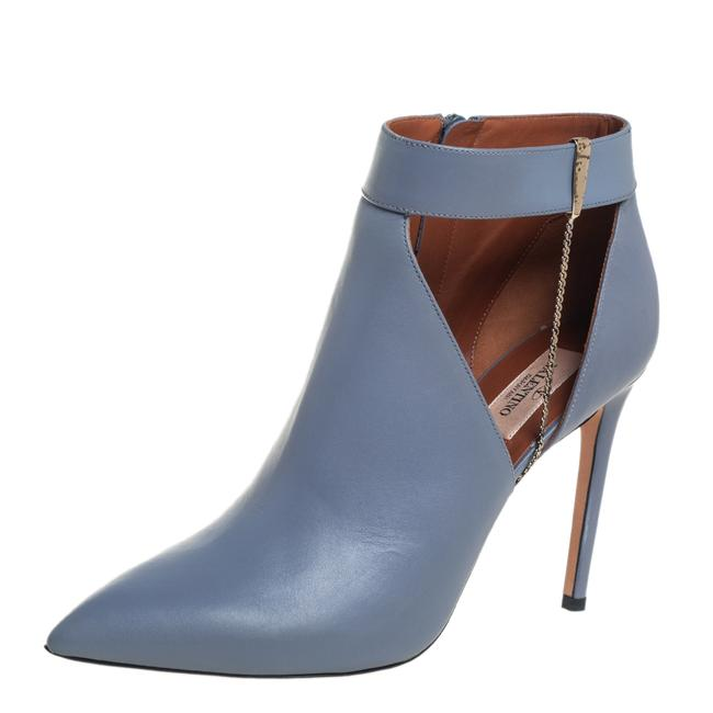 Item - Grey Leather Cut Chain Ankle Size 39 Boots/Booties