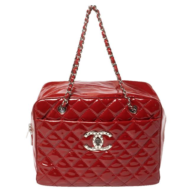 Item - Red Quilted Patent Leather Cc Bowler Bag Satchel