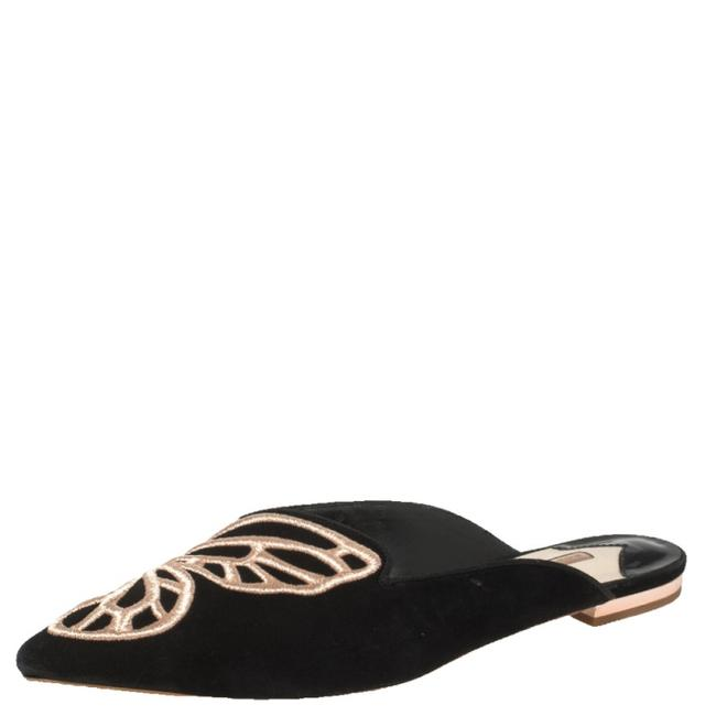 Item - Black Suede Bibi Butterfly Embroidered Flat Mules Size 38.5 Sandals