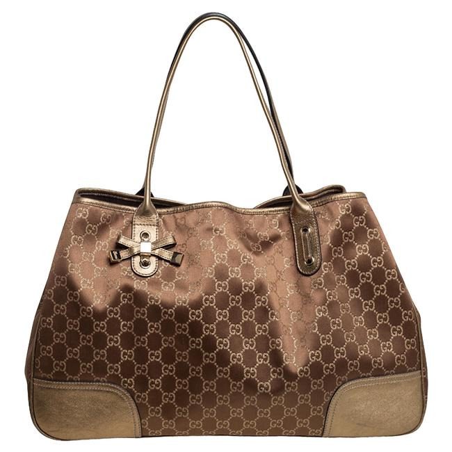 Item - Gold/Brown Gg Fabric and Leather Large Princy Tote