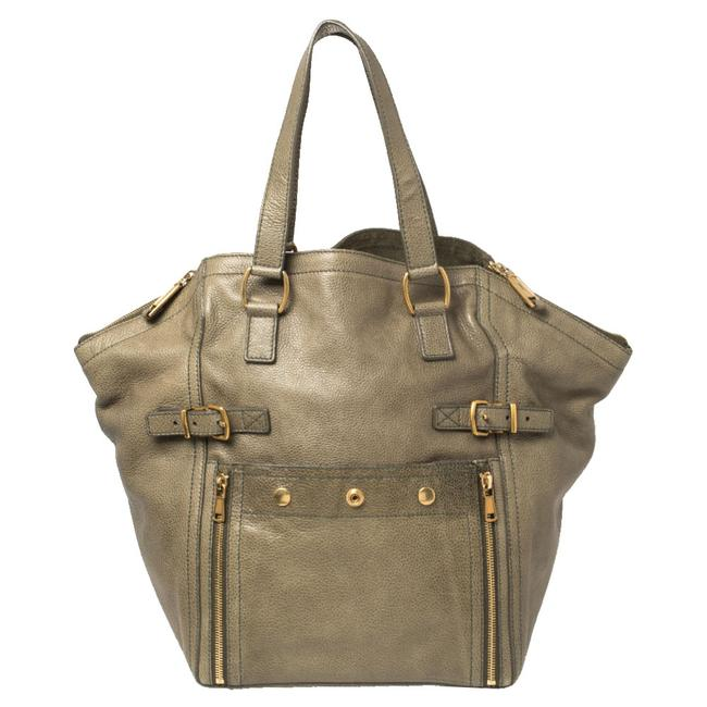 Item - Downtown Yves Military Green Leather Large Tote
