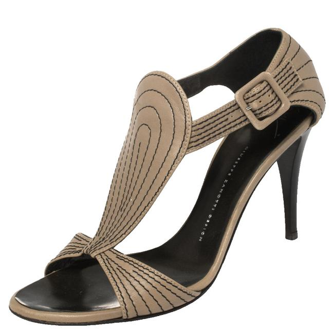 Item - Grey Leather Stitch Detail Ankle Strap Size 40.5 Sandals