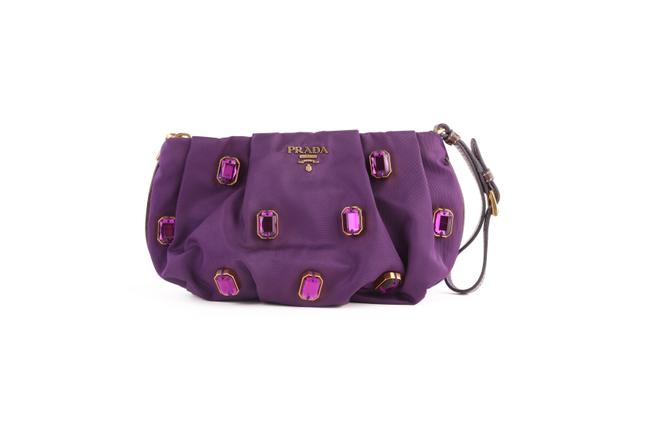 Item - Purple Nylon Jeweled Wristlet -pre Owned Condition Clutch