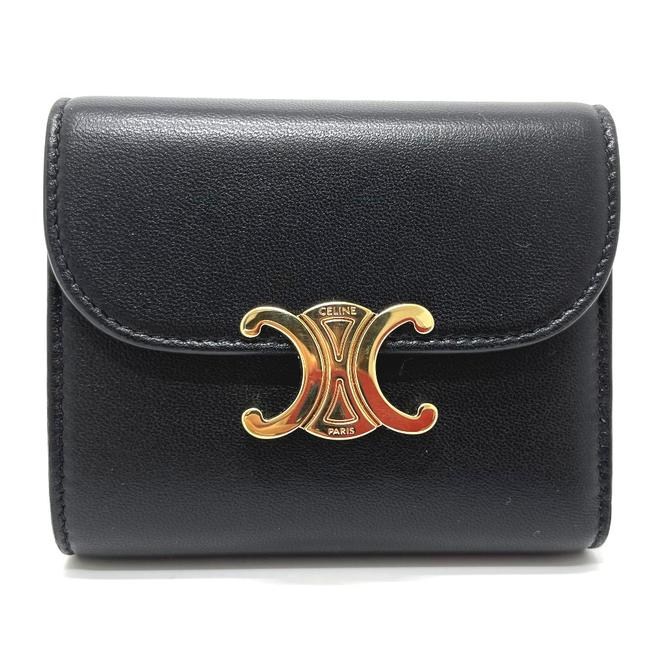 Item - Tri-Fold Triomphe Small Flap Compact Leather Black Wallet