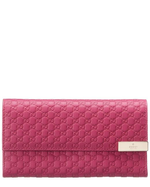 Item - Pre-owned Pink Microguccisima Leather Continental Qfabgxcopb000 Wallet