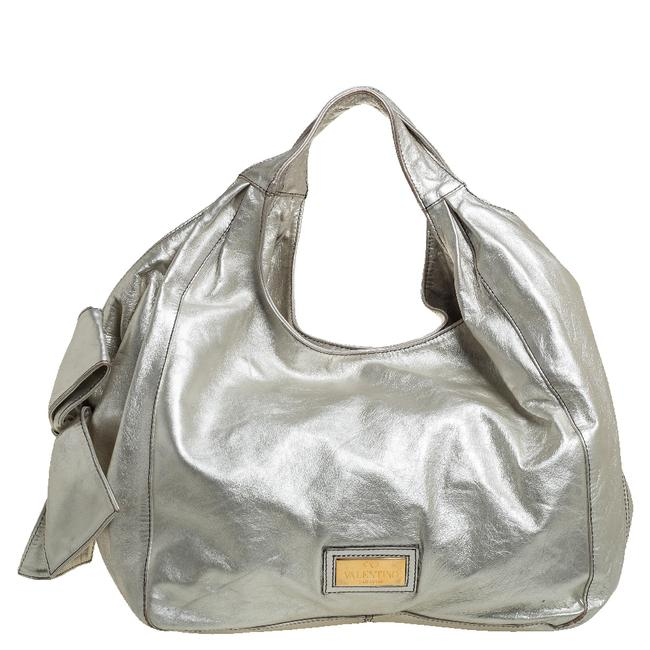 Item - Silver Leather Nuage Bow Hobo Bag