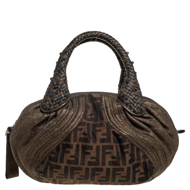 Item - Metallic/Brown Zucca Canvas and Leather Spy Bag Satchel