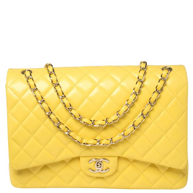 Chanel Classic Flap Yellow Quilted Leather Maxi Classic Double Shoulder Bag Chanel Classic Flap Yellow Quilted Leather Maxi Classic Double Shoulder Bag Image 1