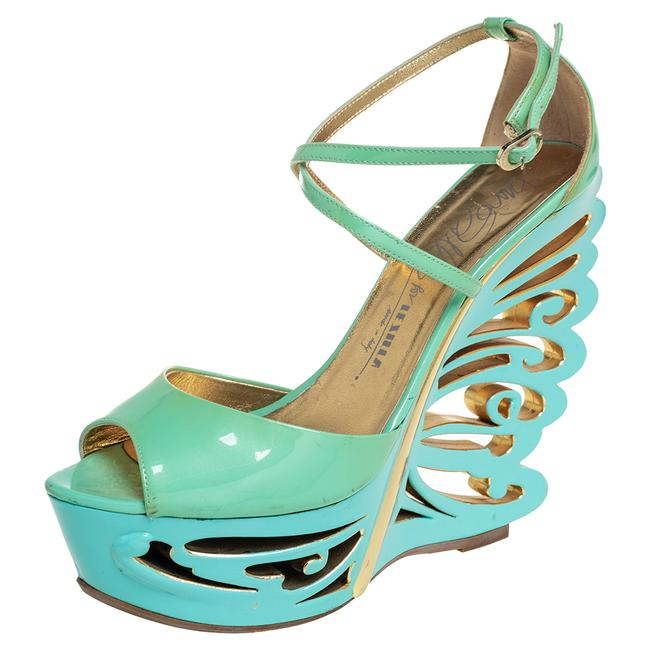 Item - Pistachio Green Patent Leather Butterfly Wedge Size 39.5 Sandals
