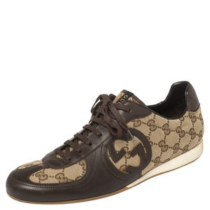 Gucci Brown Leather and Guccissima Canvas Royal Sport Interlocking Gg Sneakers Size 39.5 Athletic
