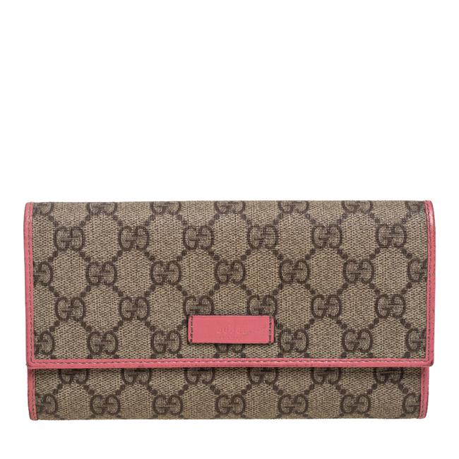 Item - Beige/Pink Gg Supreme Canvas and Leather Continental Wallet