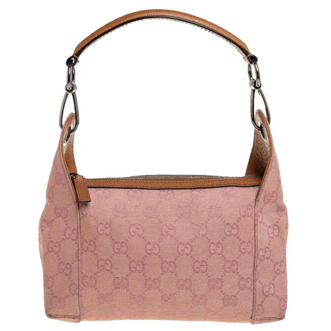 Item - Pink Gg Canvas and Leather Bag Clutch