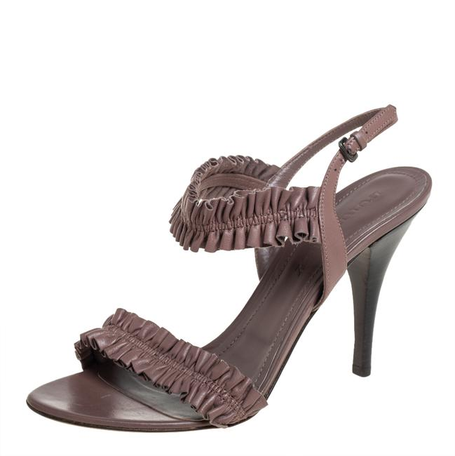 Item - Brown Leather Ruffle Slingback Size 40 Sandals