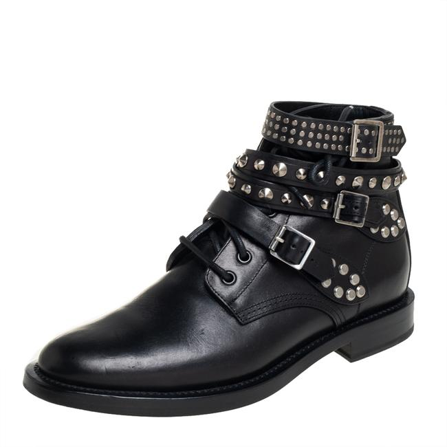 Item - Black Leather Studded Rangers Ankle Size 39.5 Boots/Booties