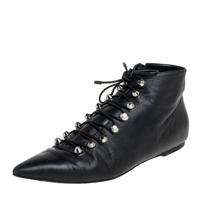 Item - Black Leather Pointed Toe Lace Up Ankle Size 40 Boots/Booties