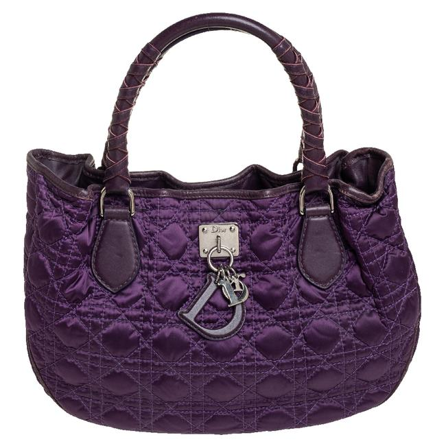 Item - Purple Cannage Quilted Satin and Leather Charming Hobo Bag