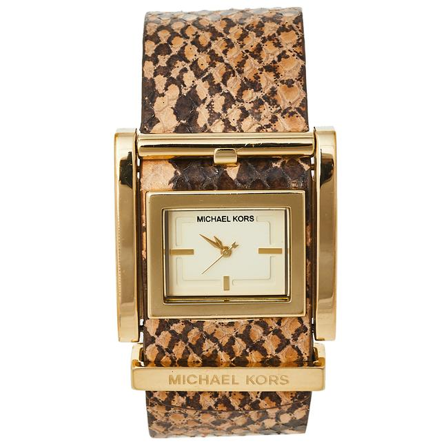 Item - Champagne Gold Tone Stainless Steel Leather Mk2123 Women's Wristwatch 38 Mm Watch