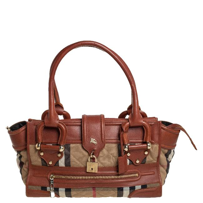 Item - Beige/Brown Nova Check Canvas and Leather Manor Satchel