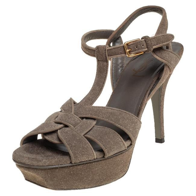 Item - Tribute Grey Coarse Glitter Suede Ankle Strap Size 37 Sandals