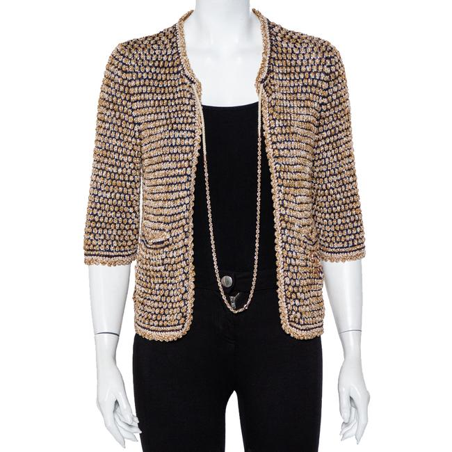 Item - Multicolor Knit Chain Detail Open Front Cardigan