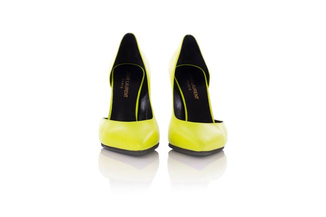 Item - Neon Green Leather D'orsay Pointed Toe Pumps
