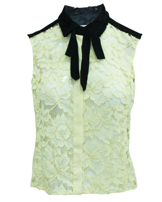Item - Paris Cream and Black Lace Sleeveless -pre Owned Tee Shirt